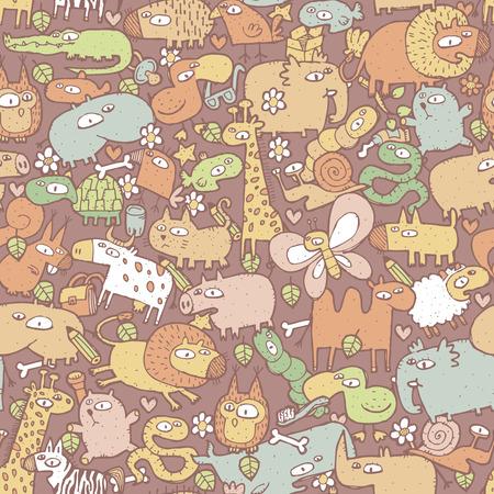 Dieren Collage is naadloze patroon met doodle tekeningen van grappige dieren en objecten. Illustratie is in vector-modus.
