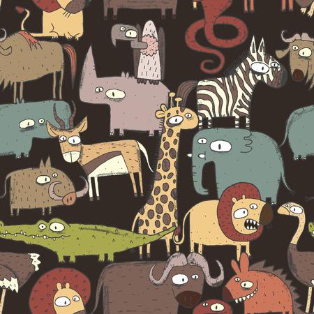 Afrikaanse dieren Collage is naadloos patroon met doodle tekeningen savanne dieren. Illustratie is in vector-modus. Stock Illustratie