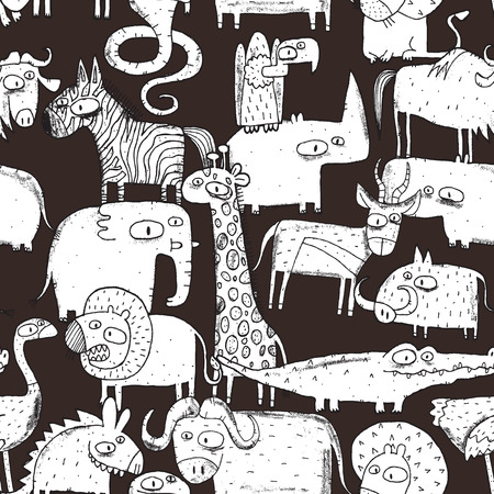 African Animals Collage is seamless pattern with doodle drawings savannah animals. Illustration is in vector mode. Vector