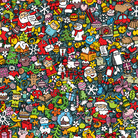 collage: Christmas seamless pattern (repeated) with mini doodle drawings (icons). Illustration is in vector mode.