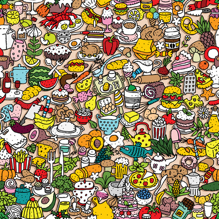 collage: Food seamless pattern (repeated) with mini doodle drawings (icons). Illustration is in  vector mode.