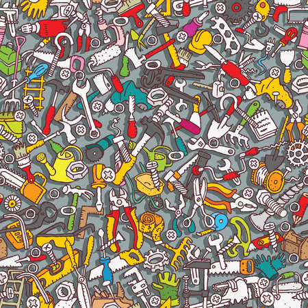 toolbox: Tools seamless pattern (repeated) with mini doodle drawings (icons). Illustration is in vector mode.