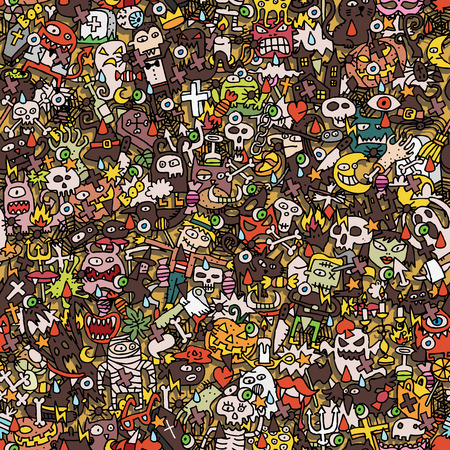 Halloween seamless pattern (repeated) with mini doodle drawings (icons). Illustration is in vector mode. Vector