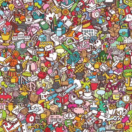 School naadloos patroon (herhaald) met mini doodle tekeningen (pictogrammen). Illustratie is in vector-modus. Stock Illustratie