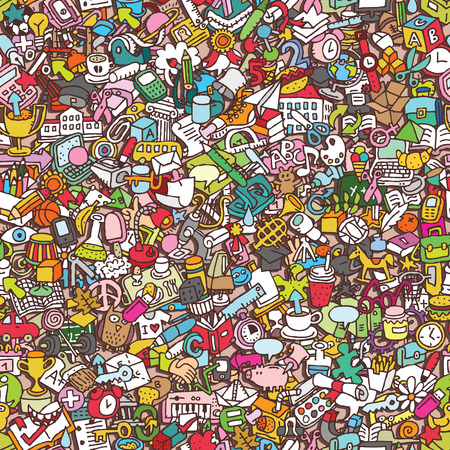 School seamless pattern (repeated) with mini doodle drawings (icons). Illustration is in vector mode. Vector