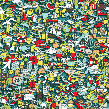 Holidays seamless pattern (repeated) with mini doodle drawings (icons). Illustration is in vector mode. Ilustracja