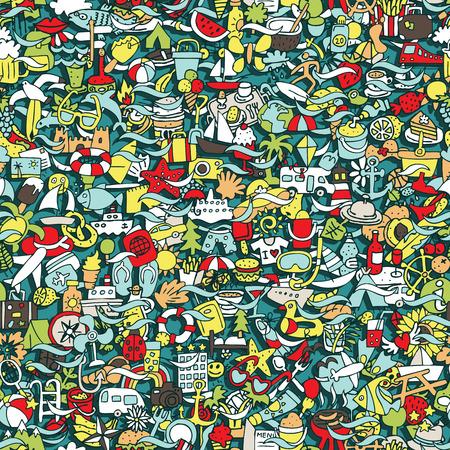 Vakantie Naadloos patroon (herhaald) met mini doodle tekeningen (pictogrammen). Illustratie is in vector-modus.