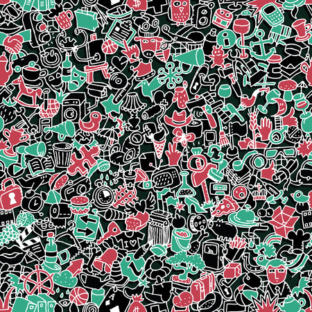 Icons seamless pattern (repeated) with mini doodle drawings (icons).  Vector