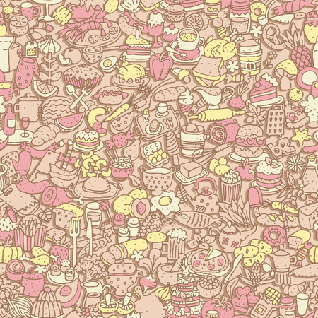 Food seamless pattern (repeated) with mini doodle drawings (icons).  Vector