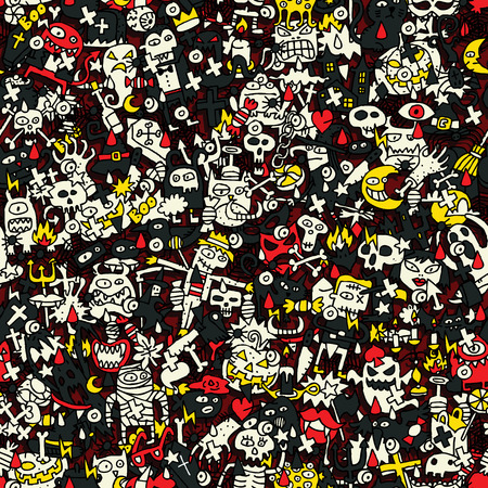 Halloween seamless pattern (repeated) with mini doodle drawings (icons). Illustration is in eps8 vector mode. Vector