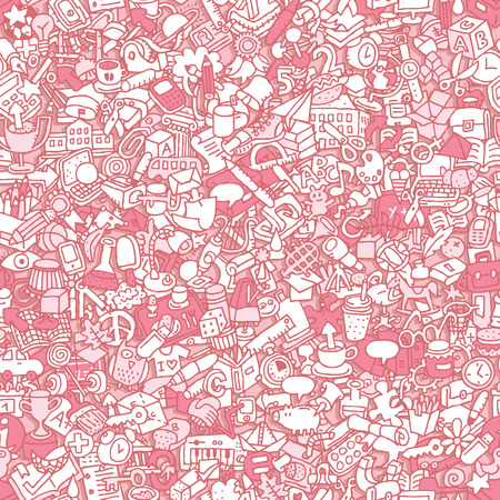 School seamless pattern (repeated) with mini doodle drawings (icons).  Vector