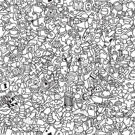 Icons seamless pattern in black and white (repeated) with mini doodle drawings (icons). Illustration is in eps8 vector mode.