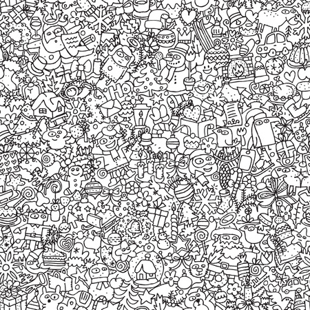 Christmas seamless pattern in black and white (repeated) with mini doodle drawings (icons).  Vector