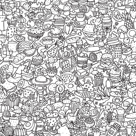 Food seamless pattern in black and white (repeated) with mini doodle drawings (icons).  Vector
