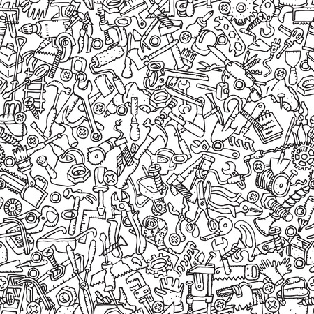 chisel: Tools seamless pattern in black and white (repeated) with mini doodle drawings (icons).  Illustration