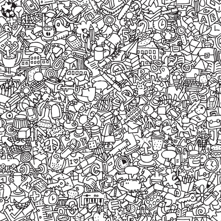 School seamless pattern in black and white (repeated) with mini doodle drawings (icons).  Vector