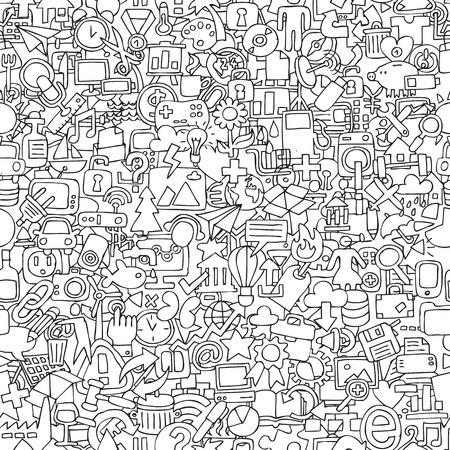 Web seamless pattern in black and white (repeated) with mini doodle drawings (icons).