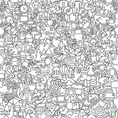 Web naadloos patroon in zwart-wit (herhaalde) met mini doodle tekeningen (pictogrammen). Stock Illustratie