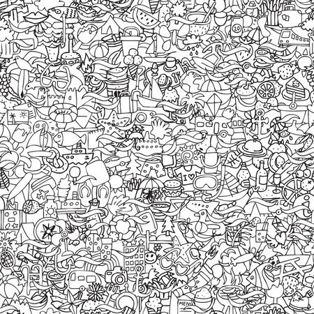 Vakanties naadloze patroon in zwart-wit (herhaald) met mini doodle tekeningen (pictogrammen). Stock Illustratie