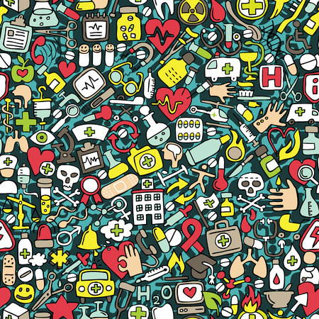 Medicine seamless pattern (repeated) with mini doodle drawings (icons).