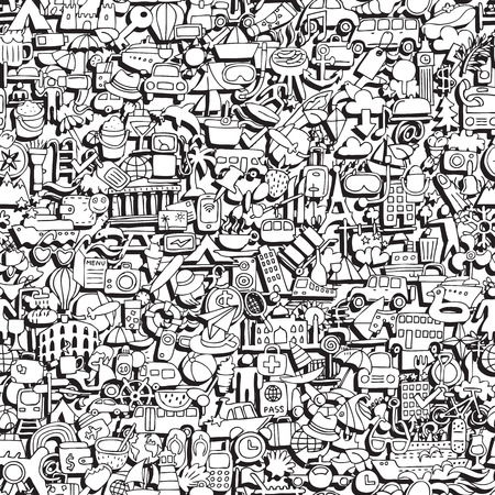 travel collage: Travel seamless pattern in black and white (repeated) with mini doodle drawings (icons). Illustration is in vector mode.