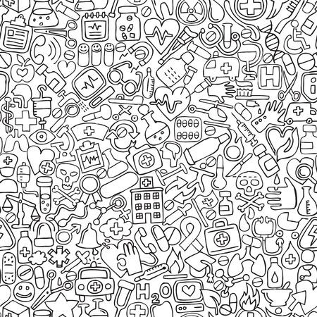 Geneeskunde naadloze patroon in zwart-wit (herhaald) met mini doodle tekeningen (pictogrammen). Illustratie is in vector-modus.