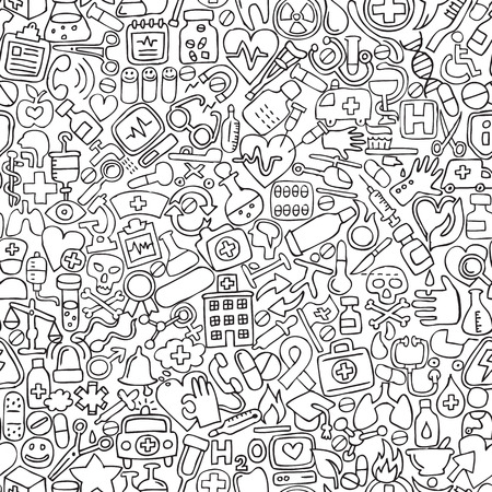 collage art: Medicine seamless pattern in black and white (repeated) with mini doodle drawings (icons). Illustration is in vector mode. Illustration