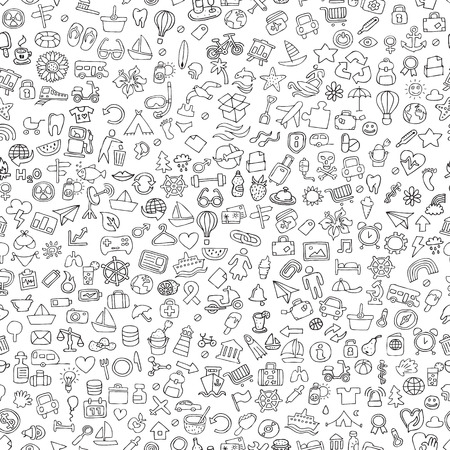 Symbols seamless pattern in black and white (repeated) with mini doodle drawings (icons). Illustration is in vector mode.
