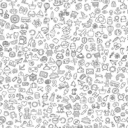 Symbolen naadloze patroon in zwart-wit (herhaald) met mini doodle tekeningen (pictogrammen). Illustratie is in vector-modus. Stock Illustratie