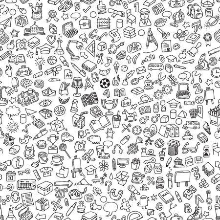 École, seamless, en noir et blanc (répétée) de mini dessins de griffonnage (icônes). L'illustration est en mode vectoriel.