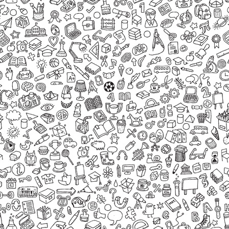 School seamless pattern in black and white (repeated) with mini doodle drawings (icons). Illustration is in vector mode. Ilustração