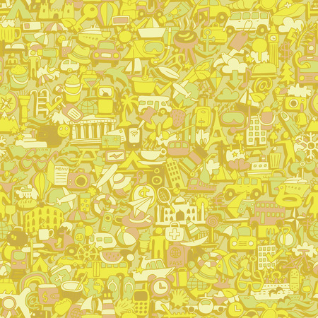 Travel seamless pattern (repeated) with mini doodle drawings (icons). Illustration is in vector mode. Vector