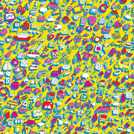 televison: Symbols seamless pattern (repeated) with mini doodle drawings (icons). Illustration is in vector mode.