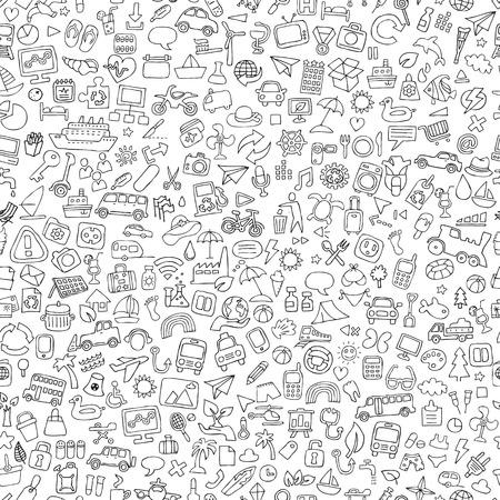 Símbolos patrón transparente en blanco y negro (se repite) con dibujos Doodle (iconos). La ilustración es en modo vectorial. Ilustración de vector
