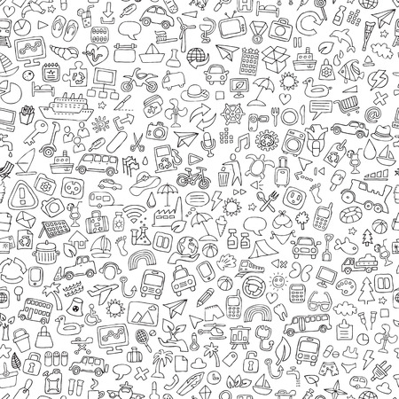 televison: Symbols seamless pattern in black and white (repeated) with mini doodle drawings (icons). Illustration is in vector mode.