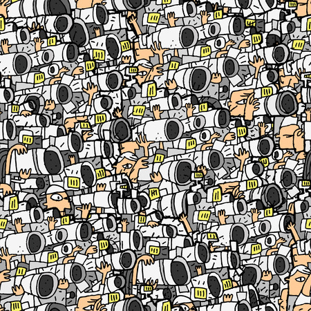 Paparazzi seamless pattern with doodle drawings. Illustration is in vector mode, background on separate layer.  Vector