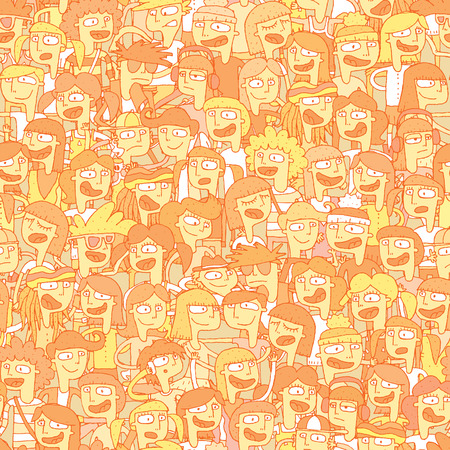 youngsters: Singing children choir seamless pattern with doodled youngsters. Illustration is in vector mode, background on separate layer.  Illustration