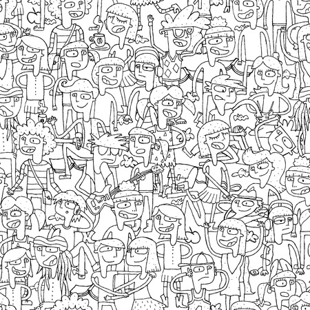 Singing children seamless pattern with doodled youngsters in black and white. Illustration is in  vector mode, background on separate layer.  Vector