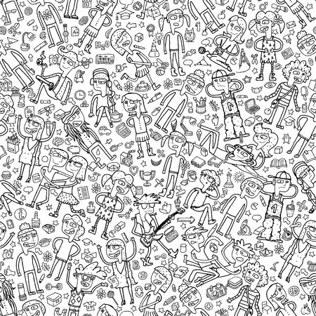 glee: Singing children seamless pattern with doodled youngsters and school objects in black and white. Illustration is in vector mode, background on separate layer.