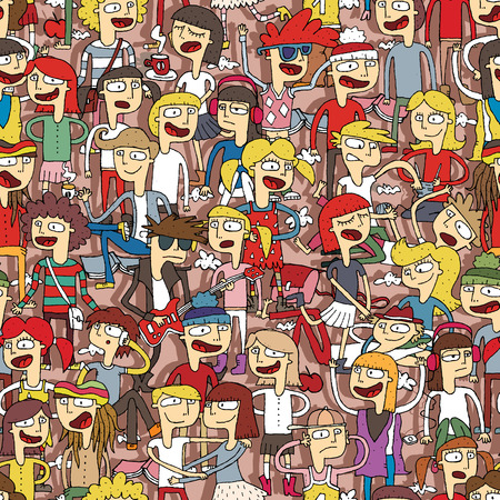 audience: Singing children seamless pattern with doodled youngsters. Illustration is in vector mode, background on separate layer.