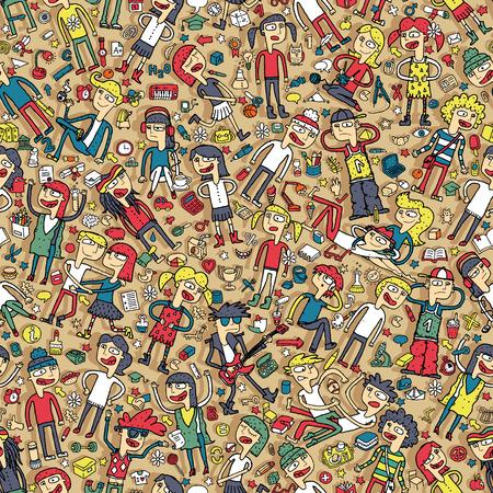 Zingende kinderen naadloze patroon met doodled jongeren en school objecten. Illustratie is in vector-modus, achtergrond op aparte laag.