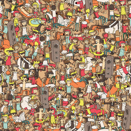 Dance party seamless pattern with doodled youngsters having fun. Illustration is in vector mode, background on separate layer.
