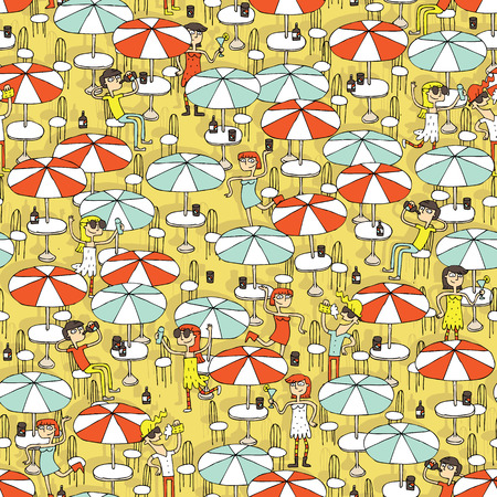Beach bar seamless pattern with doodled youngsters having fun. Illustration is in eps8 vector mode, background on separate layer.  Illustration