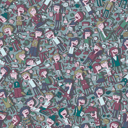gleeful: Singing children seamless pattern with doodled youngsters and school objects. Illustration is in vector mode, background on separate layer.