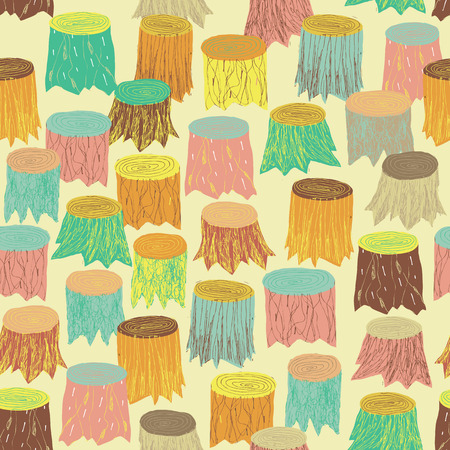 tree stump: Trees seamless pattern in colors is hand drawn grunge illustration of forest. Illustration is in eps8 vector mode, background on separate layer.