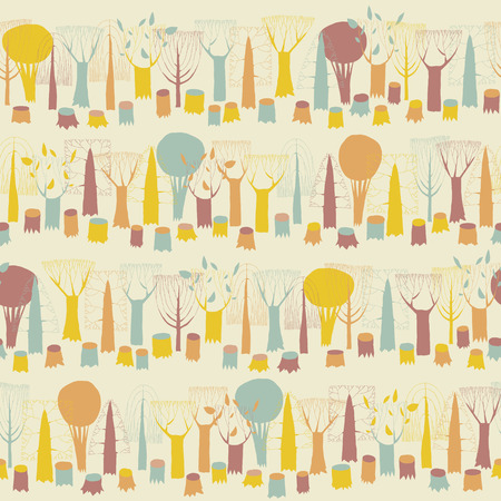 Trees seamless pattern in colors is hand drawn illustration of forest. Illustration is in eps8 vector mode, background on separate layer.  Vector