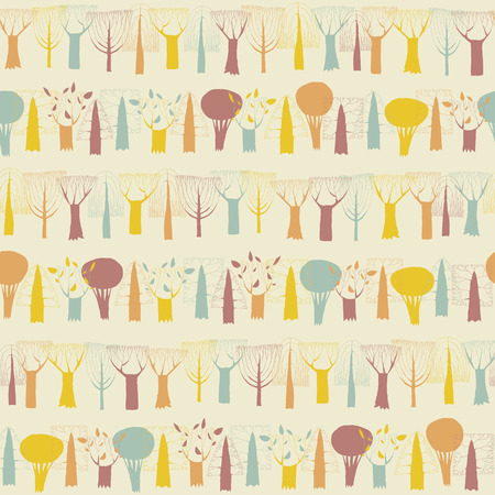 Trees seamless pattern in colors is hand drawn illustration of forest avenue. Illustration is in eps8 vector mode, background on separate layer.  Vector