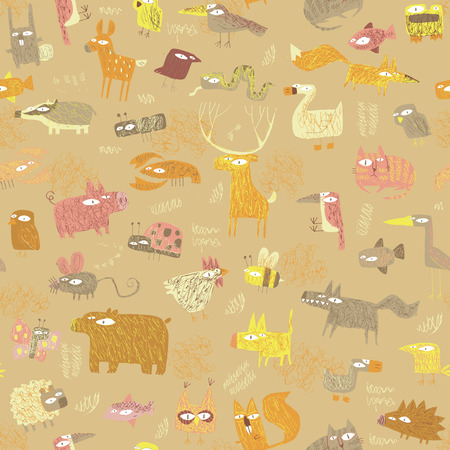 Grunge Animals seamless pattern in colors is hand drawn grunge illustration of forest animals. Illustration is in eps8 vector mode, background on separate layer.  Vector