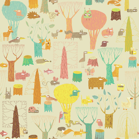 Grunge Woodland Animals seamless pattern in colors is hand drawn grunge illustration of forest animals. Illustration is in eps8 vector mode, background on separate layer.  Vector