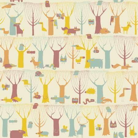 ant leaf: Animales del arbolado patrón transparente en cuatro colores es dibujado a mano ilustración del grunge de los animales del bosque. La ilustración es en modo eps8 vector, fondo en capa separada.